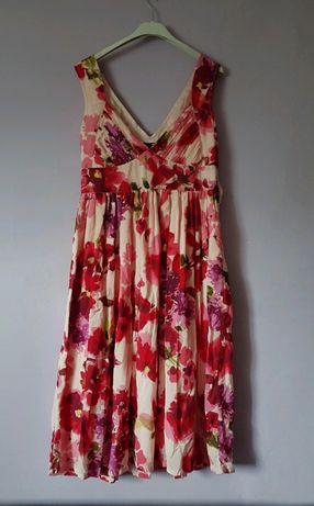 Sukienka w kwiaty maxi S M 36 38 h&M