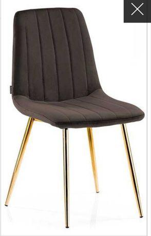 Krzesło welur brązowe / złote nóżki
