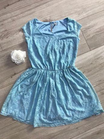 Новое! Красивейшее кружевное платье, летнее, голубое. Кружево. Мини