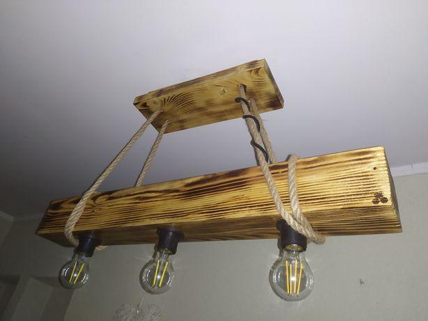 Lampa żyrandol belka drewniana loft