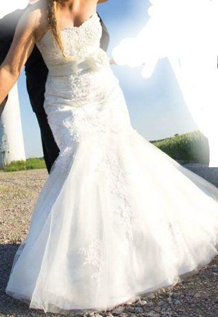 Suknia ślubna śmietankowa biel