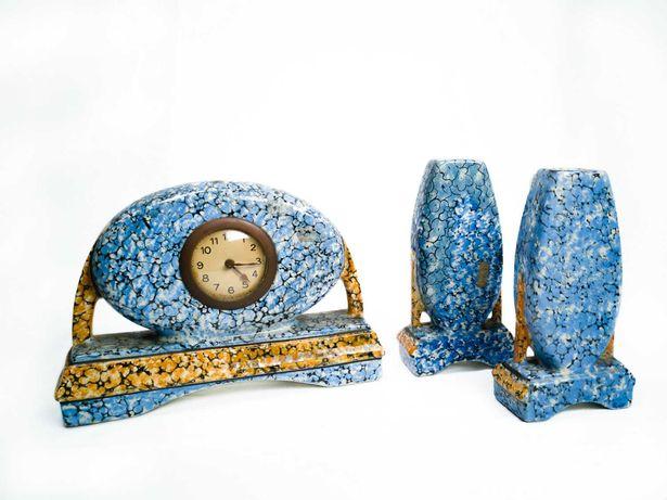 Relógio de lareira Art Deco de faiança - Anos 20