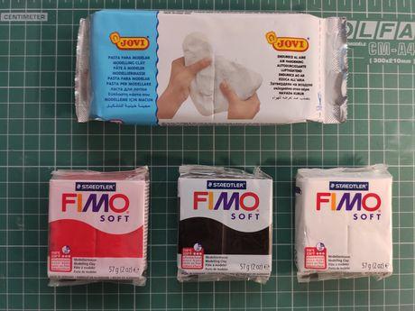 Modelina Fimo Soft + glina rzeźbiarska biala