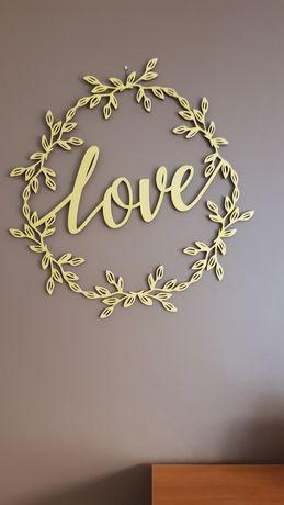 Ozdoba z drewna love dekoracje ślub