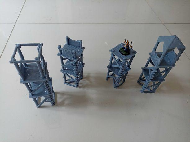 Wieże zestaw 4 wież RPG, makieta wh, teren do gry bitewne D&D