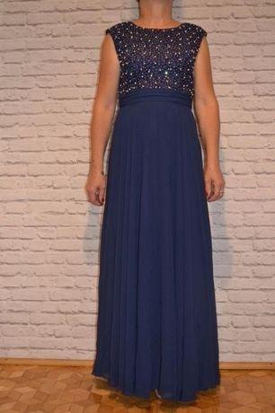 Długa zwiewna sukienka z koronką M