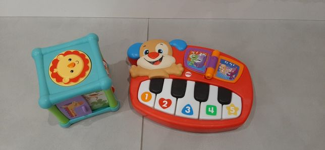 Zabawki Fisher Price pianinko i kostka