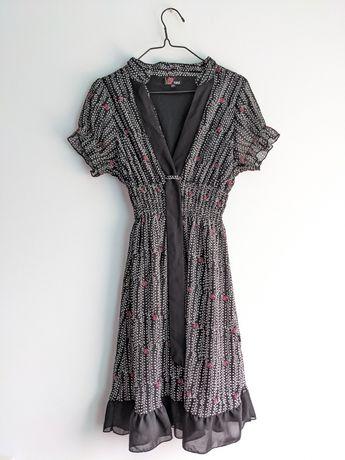 Sukienka lekka różowe kwiatki czarna biała retro vintage XS S