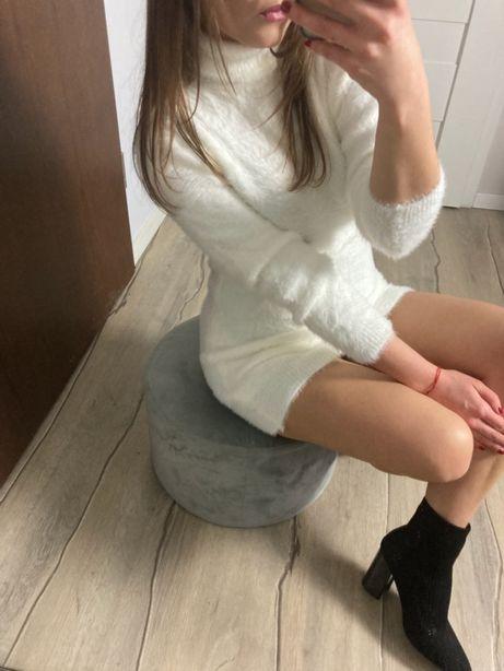 Sukienka Tunika Misiowa w kolorze Kremowym / Białym S