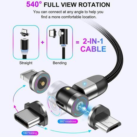 Оригинальный Магнитный кабель для зарядки Uslion 3 в 1, 360°+180°