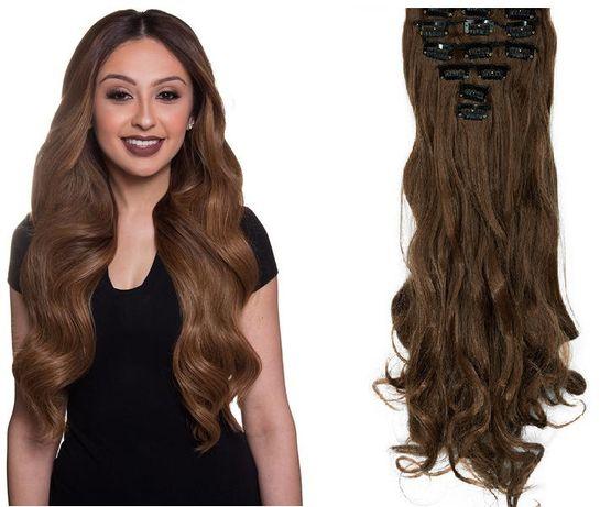 Doczepiane włosy clip in orzechowy brąz 50 cm 8 tresek