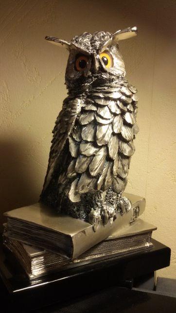 """Статуетка """"Филин на книгах"""", серебро 925 пробы, вес 1350 грамм, Италия"""
