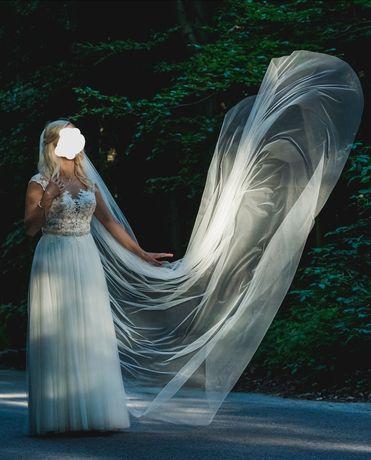 Suknia ślubna projektu Stelli York 6490, roz 38 M + welon 3m i tren