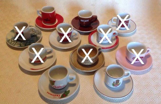 Chávenas de café com pires antigas de coleção