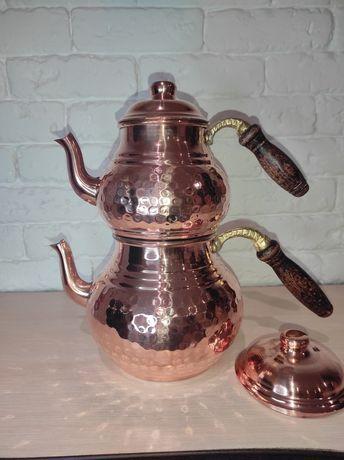 Медный двухъярусный заварочный чайник,чайданлик ручной работы.Турция