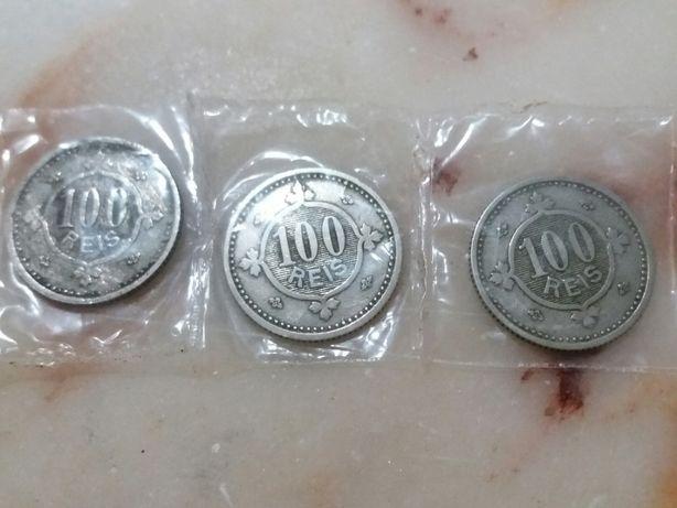 lote de 3 moedas de 100 Reis do ano 1900 (D. Carlos I)