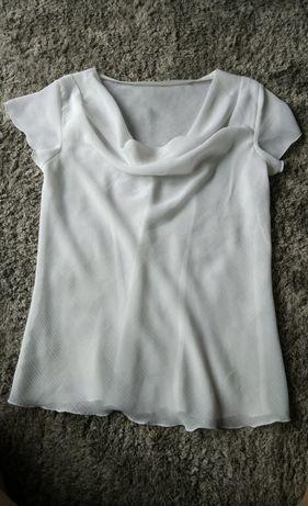 Biala elegancka bluzka z dekoltem koszula krótki rękaw S M przrswituja