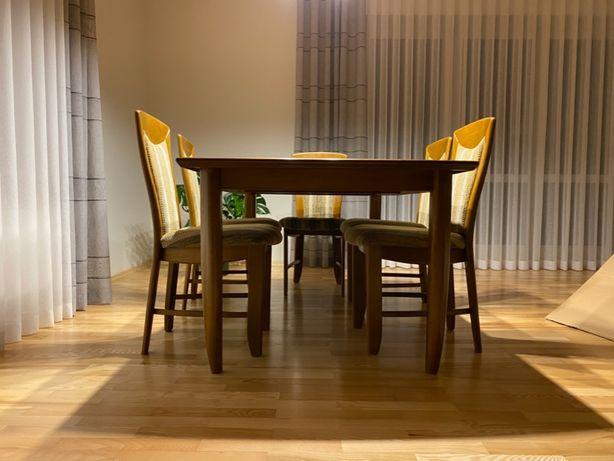 Stół dębowy 165 x 100 rozkładany do 260 x 100 cm + 6 krzeseł