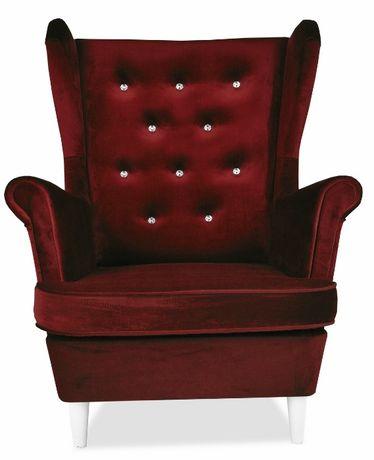Fotel Uszatek DIANA kryształki swarovskiego. Ciemnowiśniowy welur. HIT