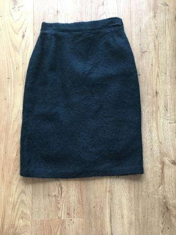 Ołówkowa wełniana spódnica S/M ciemnozielona