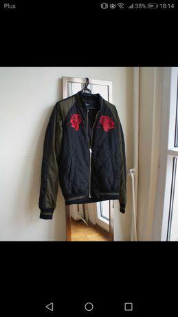 Bomberka bomber jacket s khaki czarna ramoneska pikowana