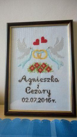 Pamiątka Ślubu, haft krzyżykowy