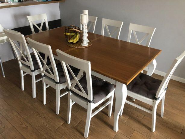 Stół drewniany - dąb + 8 krzeseł