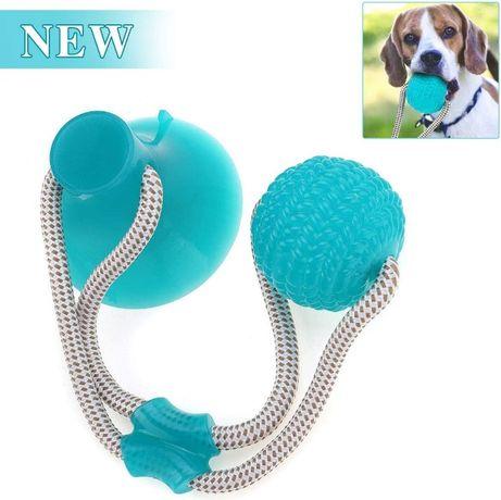 Игрушка для собак мяч с канатом на присоске