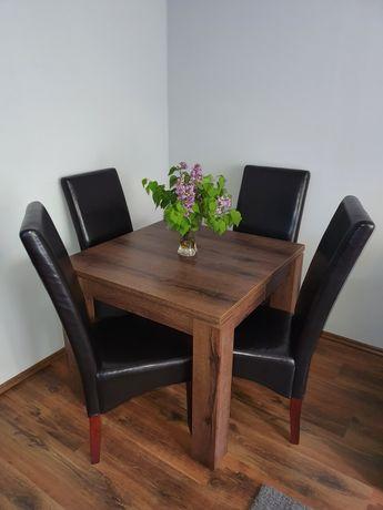 Krzesła stołowe brązowe eko skóra