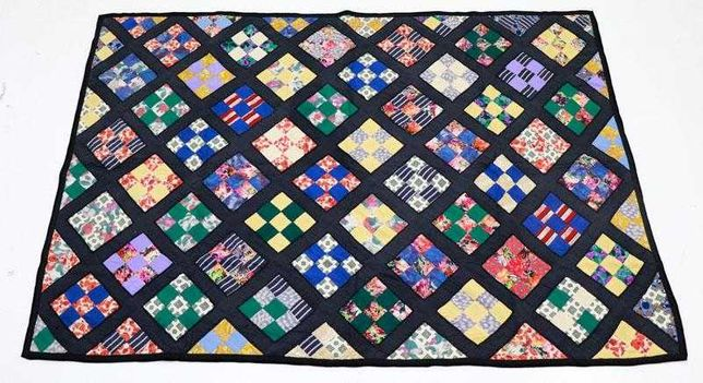 Manta de retalhos (técnica patchwork) vintage