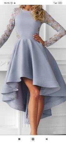 Sukienka koronkowa szara asymetryczna