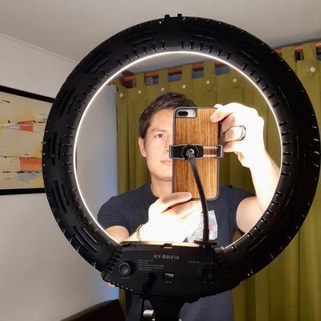 Кольцевая светодиодная Led лампа 45см KY-BK416 штатив зеркало пульт