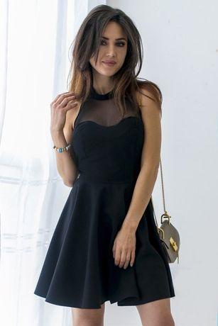 sukienka 36/ S czarna z siateczką