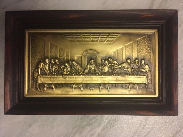Płaskorzeźba Ostatnia wieczerza relief mosiądz obraz na ścianę