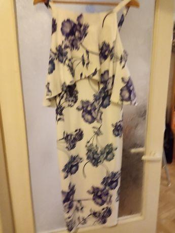 Sukienka do karmienia M 38 biała w kwiaty