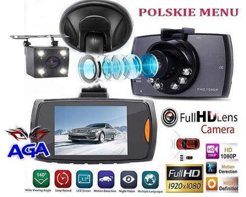Wideorejestrator + Kamera Cofania Full Hd Menu PL