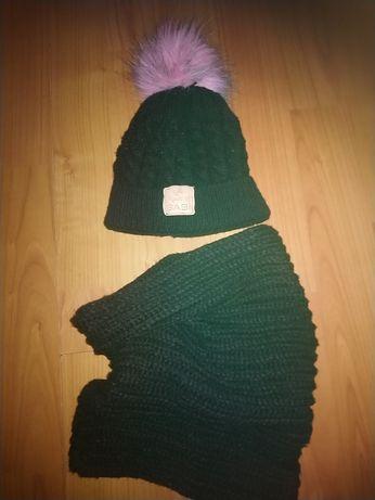 Komplet zimowy babi opaski babi czapka komin handmade szyte hand made