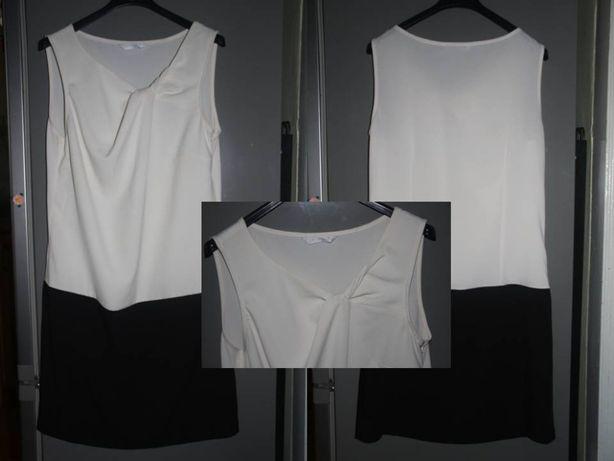 Sukienka 36 Promod biała ecru czarna elegancka biura