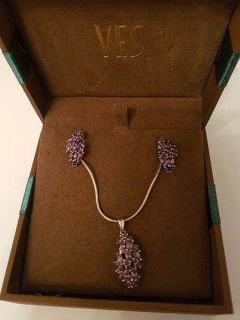YES Komplet biżuterii kolczyki zawieszka Srebro 925 łańcuszek Srebrny#