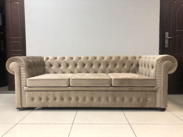 Диван Честер трехместный золотистый( Честерфилд, классический диван)
