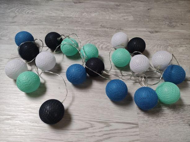 Cotton balls lampki 20 sztuk niebieski granat turkus białe