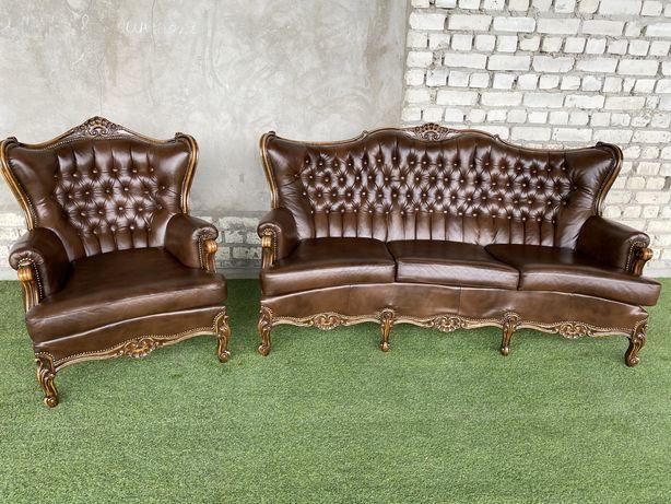 Кожаный комплект 3+1 ИТАЛИЯ Бароко рококо, ИДЕАЛ шкіряний диван