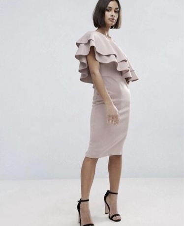 ASOS платье бежевое миди юбка открытые плечи