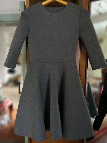 Теплое платье новое серое с розовым выворотом