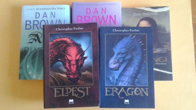 Livros de dan Brown e de Christopher Paolini