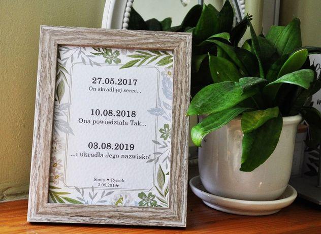 ramka historia miłości, podziękowania dla rodziców/chrzestnych naślub