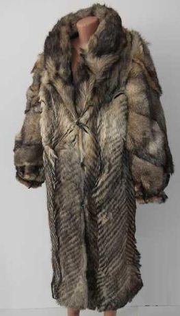 Шуба койотова XL із натурального хутра степового вовка