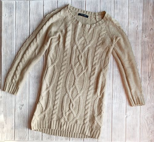 Теплая вязанная женская кофта туника на зиму от бренда Reserved