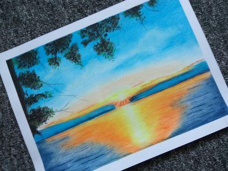 Rysunek A3 pejzaż zachód słońca na plastykę do szkoły dla ucznia