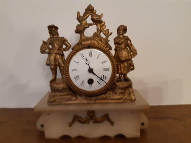 Zegar kominkowy francuski sygnowany - cynkal + alabaster